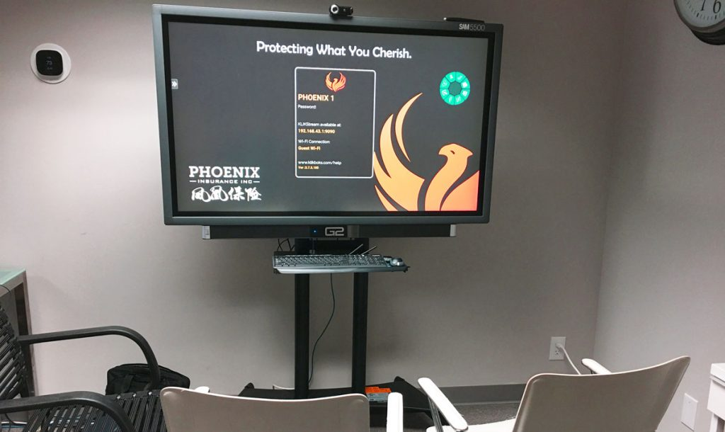 Interactive flat-panel display allows us to clearly and efficiently explain insurance products and coverages to our clients.